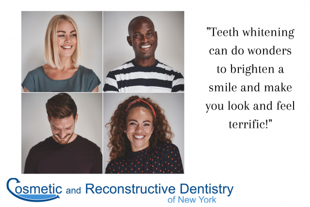 Men and woman with bright smiles thanks to teeth whitening, with text - Advanced Dentistry, NY